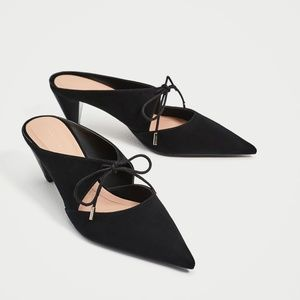 ZARA TIED BACKLESS HIGH HEEL SHOES